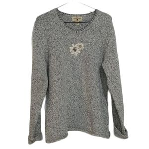 Woolrich Gray Heather Floral Embroidered Sweater